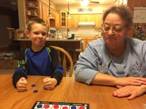 Patrick copying Grandma's thinking mouth :)